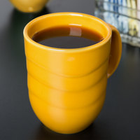 Syracuse China 903033004 Cantina 11 oz. Saffron Carved Porcelain Mug - 12/Case