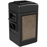 Commercial Zone 75515299 28 Gallon Islander Series Black Harbor 1 Stonetec Waste Container with Towel Dispenser and Windshield Wash Station