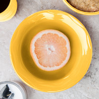 Syracuse China 903033019 Cantina 12 oz. Saffron Carved Porcelain Grapefruit Bowl - 12/Case