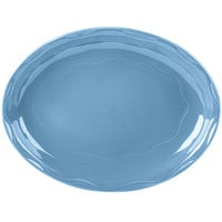 Syracuse China 903032001 Cantina 13 5/8 inch x 10 1/2 inch Blueberry Carved Oval Porcelain Platter - 6/Case
