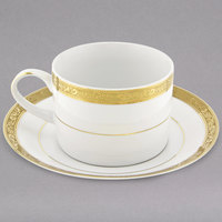 10 Strawberry Street PAR-9G Paradise 8 oz. Gold Porcelain Cup and Saucer - 24/Case