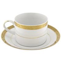 10 Strawberry Street PAR-9G Paradise 8 oz. Gold Porcelain Cup and Saucer - 24/Case