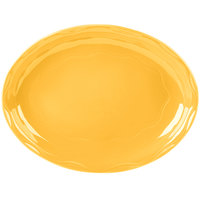 Syracuse China 903033001 Cantina 13 5/8 inch x 10 1/2 inch Saffron Carved Oval Porcelain Platter - 6/Case