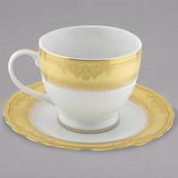 10 Strawberry Street VAN-9G Vanessa 8 oz. Gold Porcelain Ballet Cup with Saucer - 24/Case