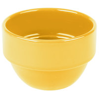 Syracuse China 903044370 Cantina 8 oz. Saffron Uncarved Stackable Porcelain Bouillon - 36/Case