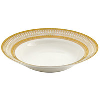 10 Strawberry Street IRIANA-3GLD Iriana 8 oz. Gold Wide Rim Porcelain Soup Bowl - 24/Case
