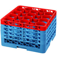 Carlisle RW20-4C410 OptiClean NeWave 20 Compartment Red Color-Coded Glass Rack with 5 Extenders