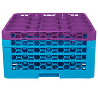 Carlisle RW20-3C414 OptiClean NeWave 20 Compartment Lavender Color-Coded Glass Rack with 4 Extenders