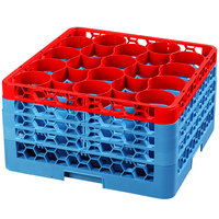 Carlisle RW20-3C410 OptiClean NeWave 20 Compartment Red Color-Coded Glass Rack with 4 Extenders