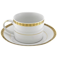 10 Strawberry Street ATH-9G Athens 8 oz. Gold Porcelain Can Cup with Saucer - 24/Case
