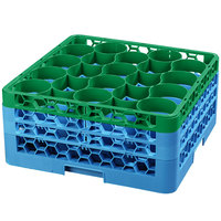 Carlisle RW20-2C413 OptiClean NeWave 20 Compartment Green Color-Coded Glass Rack with 3 Extenders