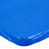 Creative Converting 37342 Stay Put Royal Blue 30 inch x 96 inch Rectangular Plastic Tablecloth with Elastic - 12/Case