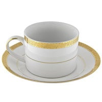 10 Strawberry Street LUX-9G Luxor 8 oz. Gold Porcelain Cup and Saucer - 24/Case
