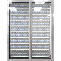 Styleline ML3079-LT MOD//Line 30 inch x 79 inch Modular Walk-In Freezer Merchandiser Doors with Shelving - Bright Silver Smooth, Right Hinge - 2/Set