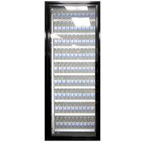 Styleline ML3075-LT MOD//Line 30 inch x 75 inch Modular Walk-In Freezer Merchandiser Door with Shelving - Satin Black Smooth, Left Hinge