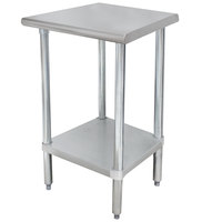 """Advance Tabco ELAG-300-X 30"""" x 30"""" 16 Gauge Stainless Steel Work Table with Galvanized Undershelf"""