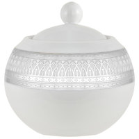 10 Strawberry Street IRIANA-18SLV Iriana 11 oz. Silver Porcelain Sugar Bowl with Lid - 6/Case