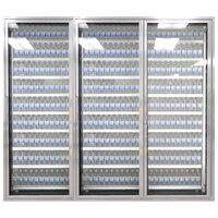 Styleline ML3075-LT MOD//Line 30 inch x 75 inch Modular Walk-In Freezer Merchandiser Doors with Shelving - Bright Silver Smooth, Right Hinge - 3/Set