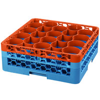 Carlisle RW20-1C412 OptiClean NeWave 20 Compartment Orange Color-Coded Glass Rack with 2 Extenders