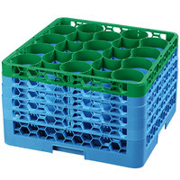Carlisle RW20-4C413 OptiClean NeWave 20 Compartment Green Color-Coded Glass Rack with 5 Extenders