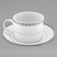 10 Strawberry Street ATH-9P Athens 8 oz. Platinum Porcelain Can Cup with Saucer - 24/Case