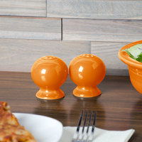 Homer Laughlin 497325 Fiesta Tangerine Salt and Pepper Set - 4/Case