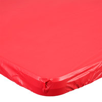 Creative Converting 37427 Stay Put Real Red 29 inch x 72 inch Rectangular Plastic Tablecloth with Elastic - 12/Case