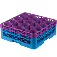 Carlisle RW20-1C414 OptiClean NeWave 20 Compartment Lavender Color-Coded Glass Rack with 2 Extenders