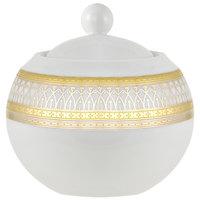 10 Strawberry Street IRIANA-18GLD Iriana 11 oz. Gold Porcelain Sugar Bowl with Lid - 6/Case