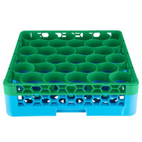 Carlisle RW30-C413 OptiClean NeWave 30 Compartment Green Color-Coded Glass Rack with 1 Integrated Extender