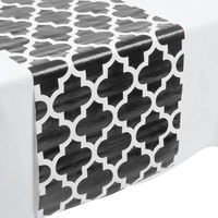 Creative Converting 317332 14 inch x 84 inch Black and White Plastic Table Runner - 12/Case