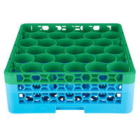 Carlisle RW30-1C413 OptiClean NeWave 30 Compartment Green Color-Coded Glass Rack with 2 Extenders
