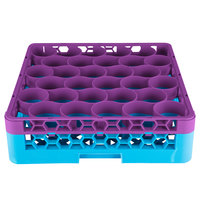 Carlisle RW30-C414 OptiClean NeWave 30 Compartment Lavender Color-Coded Glass Rack with 1 Integrated Extender