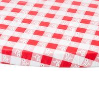Creative Converting 37288 Stay Put Red Gingham 60 inch Round Plastic Tablecloth with Elastic - 12/Case