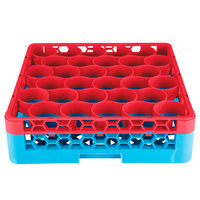 Carlisle RW30-C410 OptiClean NeWave 30 Compartment Red Color-Coded Glass Rack with 1 Integrated Extender