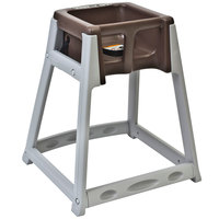 Koala Kare KB877-09 KidSitter Grey Assembled Convertible Plastic High Chair with Brown Seat