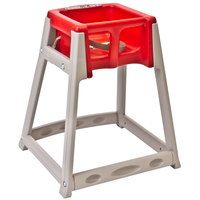 Koala Kare KB888-03 KidSitter Beige Assembled Convertible Plastic High Chair with Red Seat