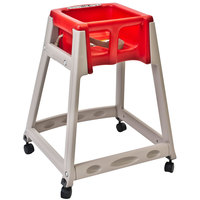 Koala Kare KB888-03W KidSitter Beige Convertible Plastic High Chair with Red Seat and Casters