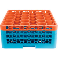 Carlisle RW30-2C412 OptiClean NeWave 30 Compartment Orange Color-Coded Glass Rack with 3 Extenders