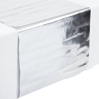 Creative Converting 317333 14 inch x 84 inch Metallic Silver Plastic Table Runner - 12/Case