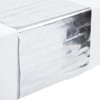 Creative Converting 317333 14 inch x 84 inch Metallic Silver Plastic Table Runner   - 12/Case