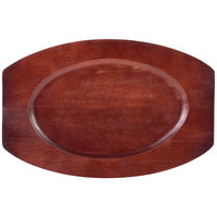 8 1/4 inch x 12 1/2 inch Mahogany Oval Wood Sizzler Platter Underliner