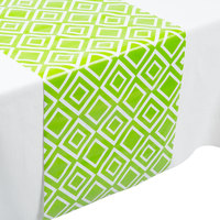 Creative Converting 317335 14 inch x 84 inch Fresh Lime Green and White Plastic Table Runner - 12/Case