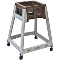 Koala Kare KB877-09W KidSitter Grey Assembled Convertible Plastic High Chair with Brown Seat and Casters