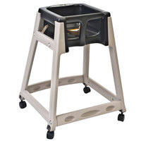Koala Kare KB888-02W KidSitter Beige Assembled Convertible Plastic High Chair with Black Seat and Casters
