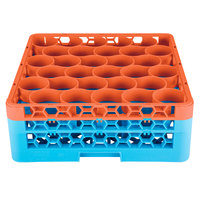 Carlisle RW30-1C412 OptiClean NeWave 30 Compartment Orange Color-Coded Glass Rack with 2 Extenders