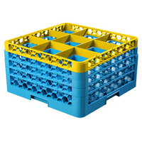 Carlisle RG9-4C411 OptiClean 9 Compartment Yellow Color-Coded Glass Rack with 4 Extenders