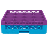 Carlisle RG16-1C414 OptiClean 16 Compartment Lavender Color-Coded Glass Rack with 1 Extender