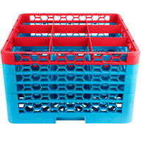 Carlisle RG9-5C410 OptiClean 9 Compartment Red Color-Coded Glass Rack with 5 Extenders