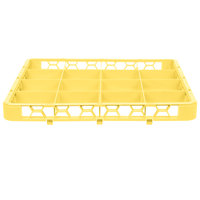 Carlisle RE16C04 OptiClean 16 Compartment Yellow Color-Coded Glass Rack Extender
